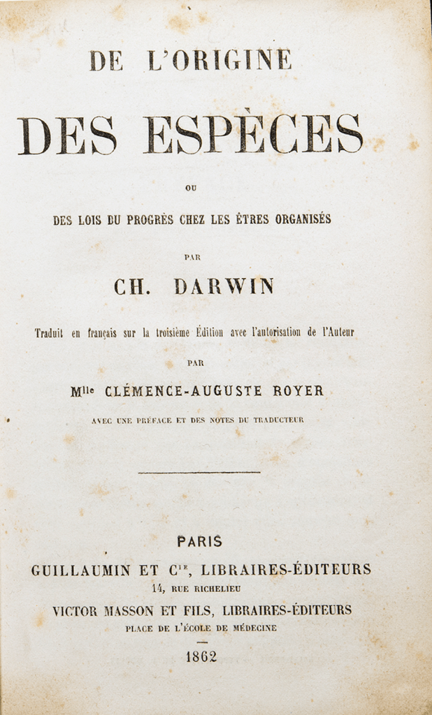 Title page of an 1862 tranlsation of The Origin of Species into French.
