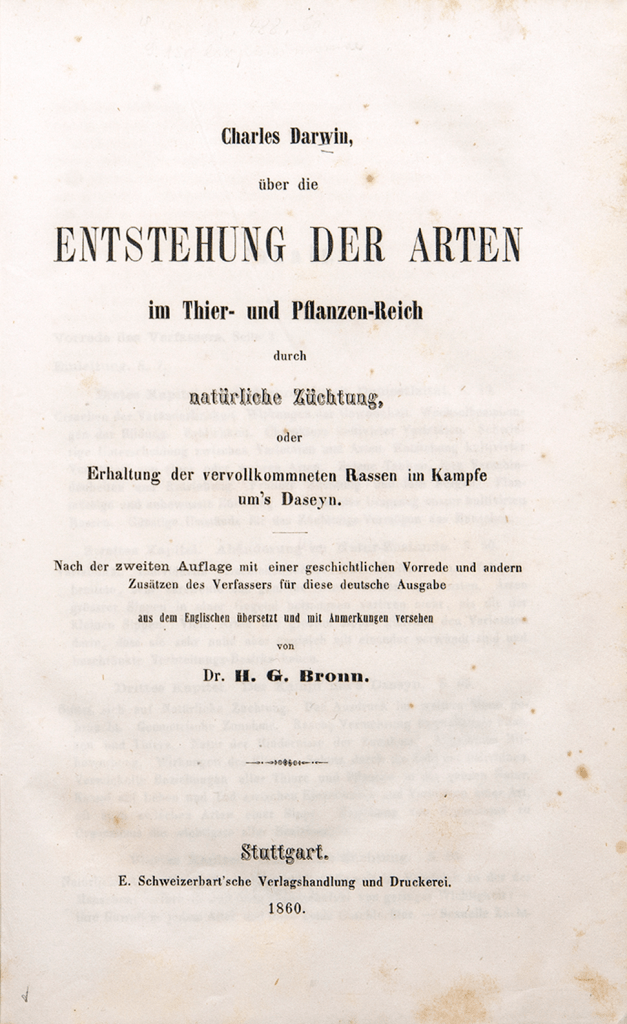 Title page of an 1860 tranlsation of The Origin of Species into German.