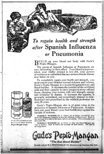 "Ad reading: ""To Regain health and strength after Spanish Influenza or Pneumonia...Gude's Pepto-Mangan"""
