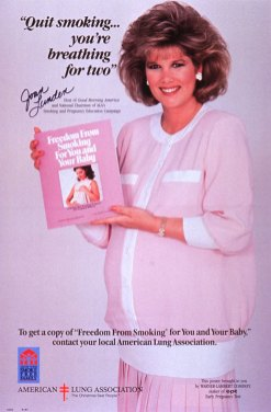 "Joan Lunden, Ms. Lunden holding a brochure entitled ""Freedom from smoking for you and your baby."""