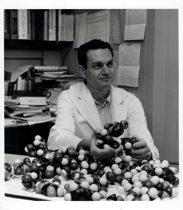 Marshall Nirenberg with molecular models, ca. 1962