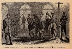 Illustration of President Lincoln being carried by five men while several soliders with weapons watch nearby.
