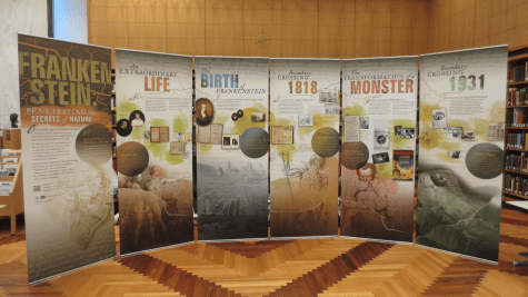 The Frankenstein travelling exhibitoin banners set up in the History of Medicine Division reading room.