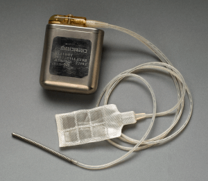 Medical device with cords and patch.
