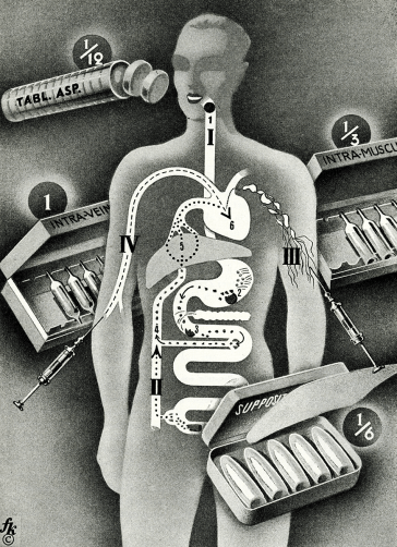A styalized outline of a figure with an overlay of digestive and circulatory systems and dtawings of styalized medicines.