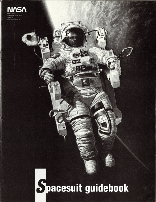 Black and White pamphlet cover with the NASA logo featuring an astronaut in a spacesuit in space with the moon in the background.