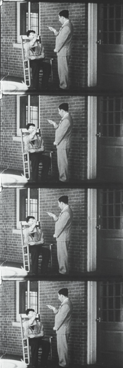 A four frame film strip showing a masked patient interacting with a man in a suit.
