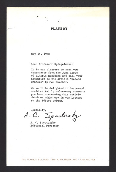 A letter on Playboy letterhead from A. C. Spectorsky, Editorial Director.