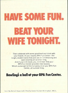 Advertisement: Have Some Fun. Beat Your Wife Tonight.