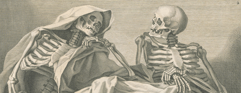 Two skeletons appear engaged in causal conversation.