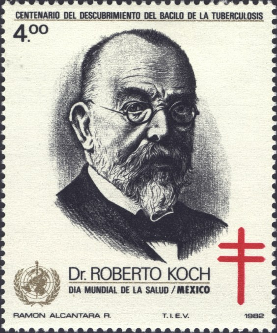 1982 stamp from Mexico featuring a headshot of Dr. Robert Koch. There is also a cross of Lorraine and a symbol of the World Health Organization.