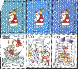 "6 1997 stamps from Italy. The top row of 3 stamps feature cartoon images of St. Nicolas. The bottom row of 3 stamps each feature a colorful illustration and say ""Poste Vaticane""."
