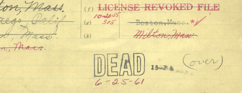 A typed card, repaired with tape with many handwritten annotations, stamped DEAD