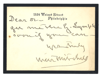 A handwritten request from Dr. S. Weir Mitchell.