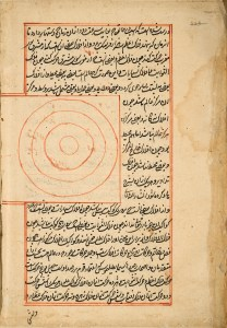 A page of handwritten text in Arabic with a red border and a hand drawn illustration of 4 concentric circles in red set into the text in a red bordered box.