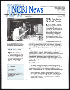 The front page of a printed newsletter.