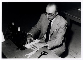 DeBakey using a sewing machine.