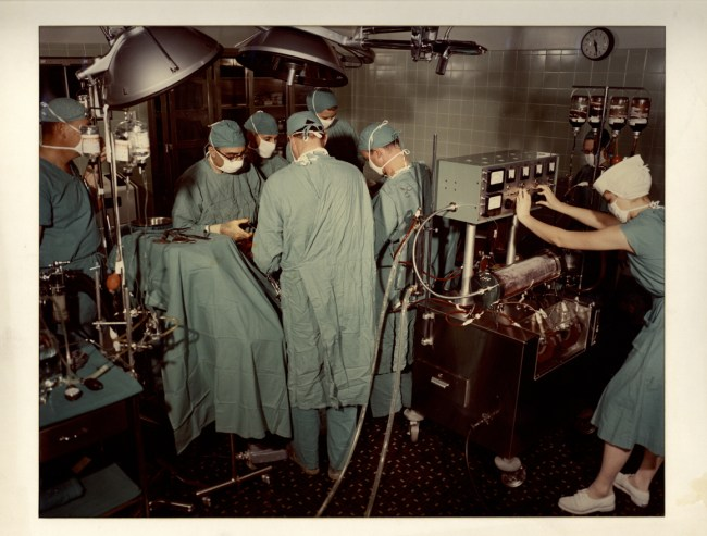 Michael DeBakey and surgical team at work