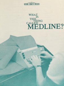 Cover of a duotone pamphlet showing a keyboard entry machine.