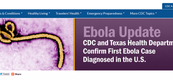 Archived CDC homepage running features on Ebola.