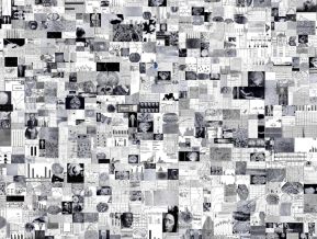 A collage of around 500 black and white images consisting mainly of brain anatomy and graphs.