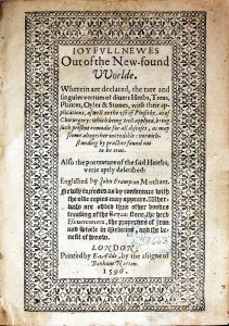 Title page of Joyfull Newes Out of the New-Found Worlde with a decorative geometric floral border.