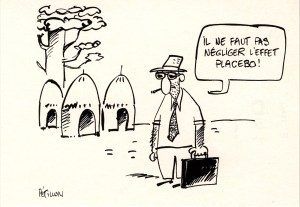 Cartoon of a man with a cigarette and briefcase in shortsleeves and a tie, with huts in the background.