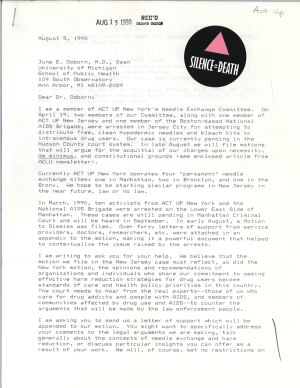 A letter printed on a dot matrix printer, with the ACTUP logo on it.