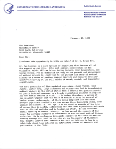 Page 1 of a letter on National Library of Medicine Letterhead.