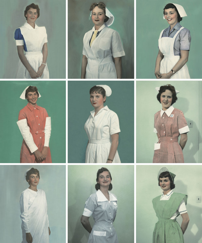 Photographs of 9 woman in nursing uniforms, generally including variations on a collarged shirt, cap and apron.