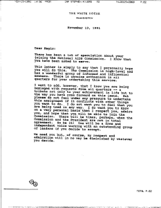 Copy of page 1 of a typwritten letter on White House letterhead dated November 13, 1991..