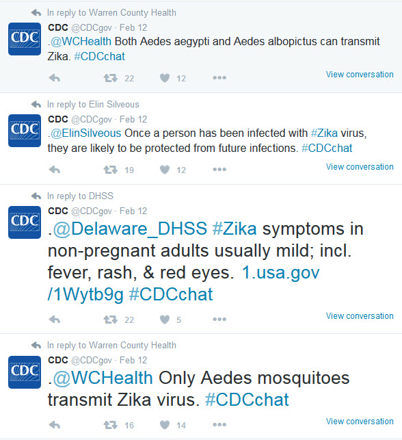 CDC tweets about mosquito species, how to prevent infection, and symptoms.