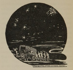 Woodcut drawing of people moveing around an ambulance under a black sky with stars.