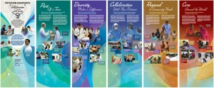 Design layouts in jewel tones featuring health professionals at work around the world.