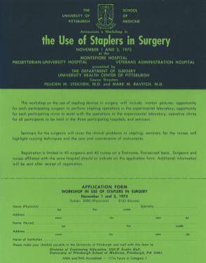 A one-page flyer advertising a workshop on The Use of Staplers in Surgery with an application form at the bottom.