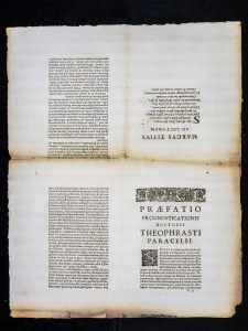 A sheet in four quadrents, the lower right is the first page of the preface, the upper two are printed upside down.