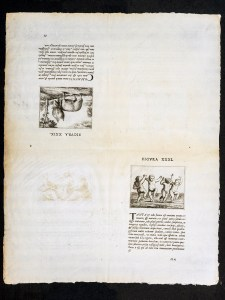 A sheet in four quadrents, the lower right and upper left have illustrations with text beneath, the upper is upside down.