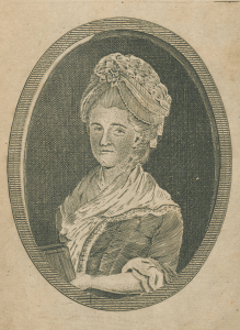 Engraved portrait of a woman holding a book.
