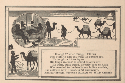 An illustrated poem depicts a caravan of camels carying Wistar's Balsam of Cherry and a family in silhouette.