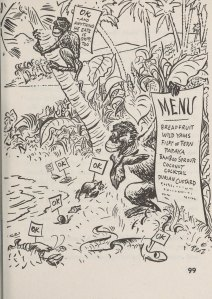 """What to eat when shipwrecked - a cartoon of animals labeled """"OK"""" and a list of plants."""