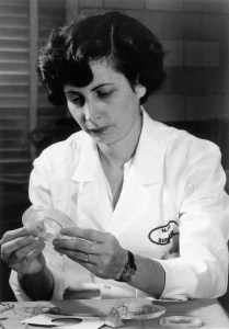 A woman in a lab coat works with plastic objects, thread, and patterns.