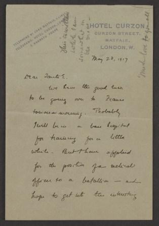 A handwritten letter on hotel stationairy.