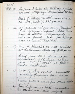 A detail from a page in the Journal recording the impact of the 1918 influenza epidemic on the Station.