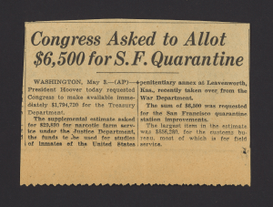 Congress Asked to Allot $6500 for S. F. Quarantine