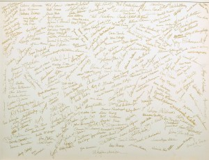 A large page covered with signatures.