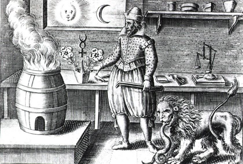 Illustration of an alchemy workshop.