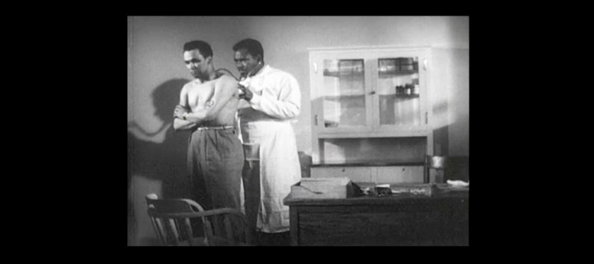 Still from the film Let My People Live showing a black doctor examining and black man..