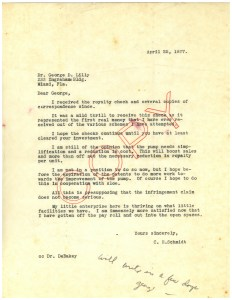 A typewritten letter expressing pleasure in recieving a royalty check and outlining possible improvements to the instrument.