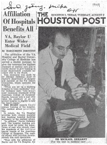 "A newspaper clipping from The Houston Post, August 2, 1949: Affiliation of Hospitals Benefits All, with handwritten annotation ""Good Going. Mike."""