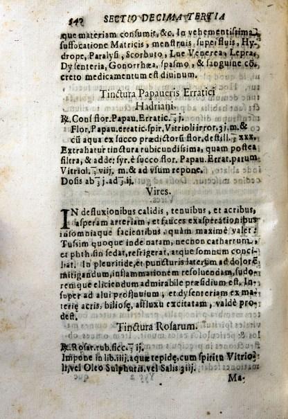 Printed page describing tinctures.